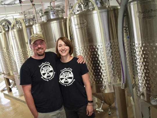 Jim and Kiley Hilligan of ConfluxCity Brewing Company in Portland, pictured May 23, 2018. The business opened in June of 2018, and is now set to expand.