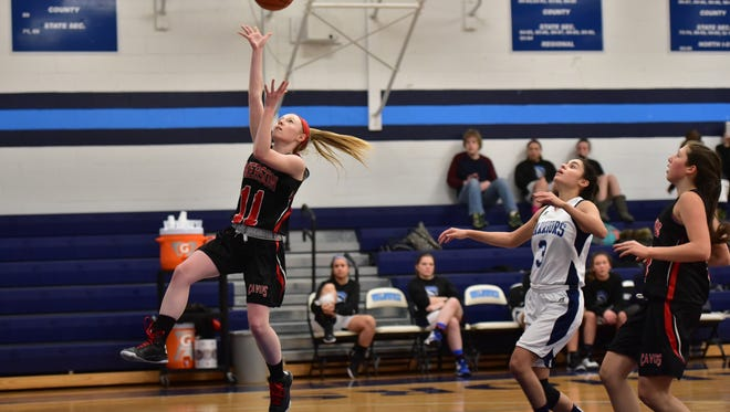 Emerson's Devin Riker scored her 1,000th career point on Thursday.