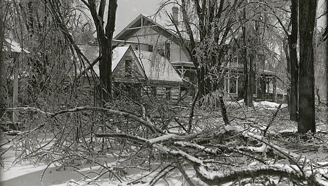 A sleet storm on Feb. 22, 1922, caused damage at the Doty Cabin and Robert's Resort.