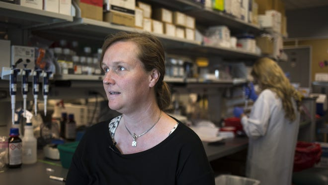 Dr. Kendall Van Keuren-Jensen, shown in her lab at T-Gen in Phoenix, will lead a CTE study to see if the brain disease can be detected in the living.