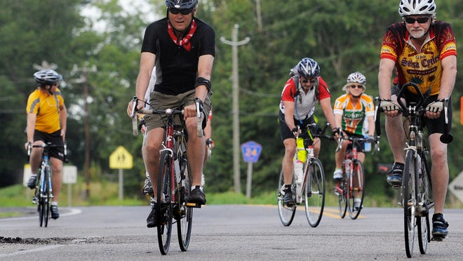 Cyclists take part in the Montgomery Bicycle Club's Glassner Autumn Challenge in Pintlala in this file photo. Hundreds of cyclists expected to participate in one of four rides, ranging from 30 miles to 100 miles in length, this Saturday.