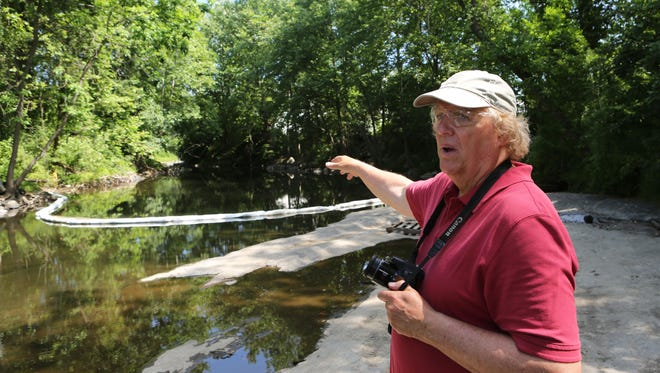 Geoff Welch, the Ramapo River watershed keeper, talks about the river at H. Pierson Mapes Flat Rock Park in Hillburn.