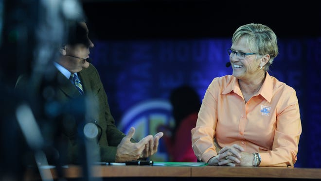 UT women's basketball coach Holly Warlick talks analysts from the SEC Network during the SEC Tipoff17 at Bridgestone Arena Thursday, Oct. 20, 2016, in Nashville, Tenn.
