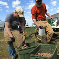 Jason Grimm, left, and Scott Koepke prepare to plant potatoes on a plot of land west of Iowa City on Melrose Avenue on Wednesday, April 13, 2016.