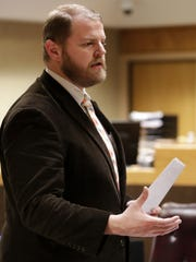 Public defender Ben Szilagyi gives his closing argument in the Brian T. Flatoff's trial.