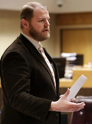 Public defender Ben Szilagyi gives his closing argument in the Brian T. Flatoff trial.