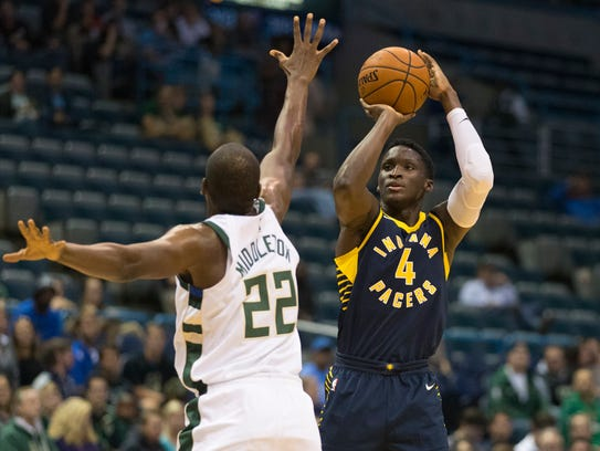 Oct 4, 2017; Milwaukee, WI, USA; Indiana Pacers guard