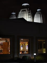 View from the outside of worshipers at Shree Swaminarayan Temple.