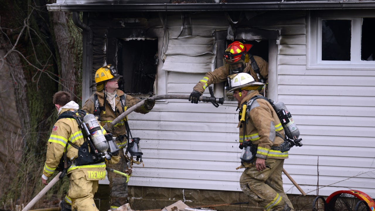 A woman jumped from the second story of a West Rushville Road home to escape a fire Friday, Feb. 23, 2018, in Rushcreek Township. She was taken to Fairfield Medical Center for treatment.