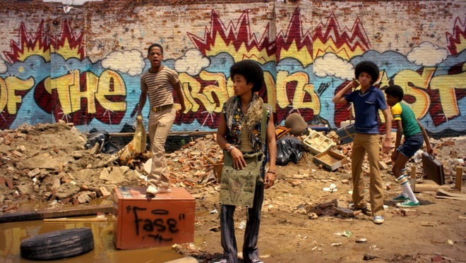 Tremaine Brown Jr., left, Jaden Smith, Justice Smith  and Skylan Brooks star in Netflix's 'The Get Down.'
