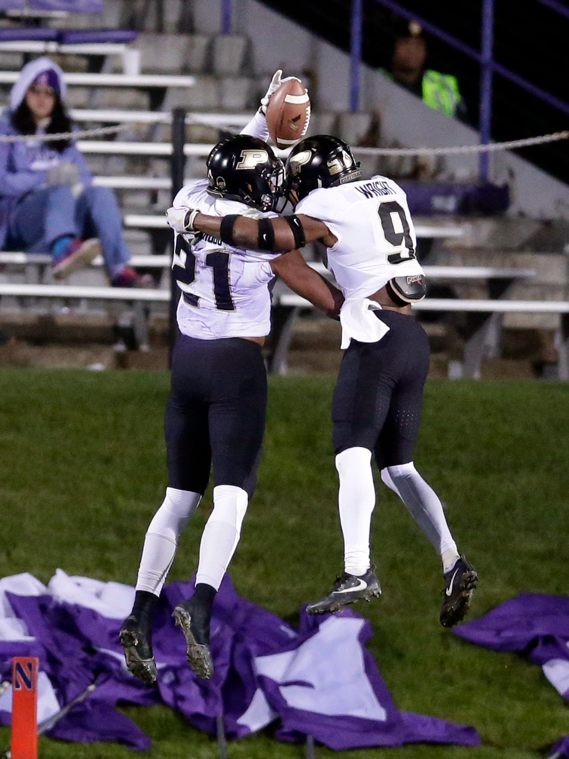 Purdue wide receiver Anthony Mahoungou, left, celebrates