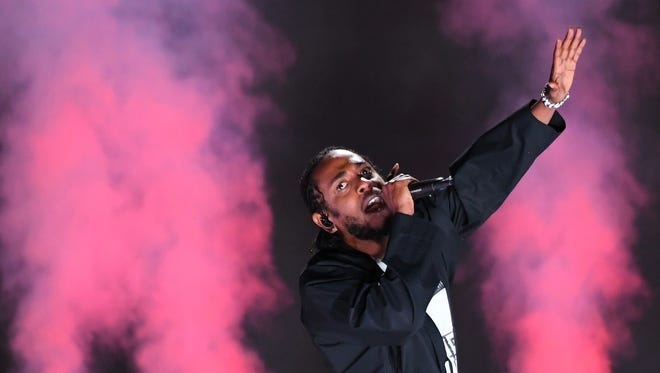 Kendrick Lamar performs during the 60th Annual Grammy Awards at Madison Square Garden.