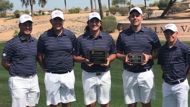 Dixie State men's golf team display their awards won April 3