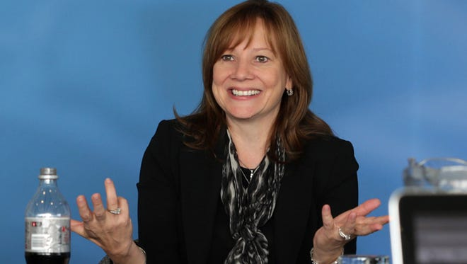 General Motor's CEO Mary Barra talk with the editorial board of the Detroit Free Press on Oct. 27, 2014.