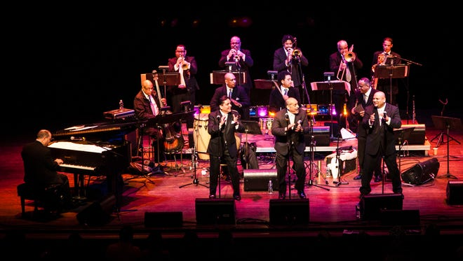 The Spanish Harlem Orchestra — from left: Oscar Hernández, Gerry Madera, Manuel Ruiz  Marco Bermudez, George Delgado   Hector Colon, Luisito Quintero, Ray De La Paz,  Doug Beavers, Reynaldo Jorge, Jorge Gonzalez, Carlos Cascante and Jorge Castro — perform at a performing arts center in South Orangetown, N.J.
