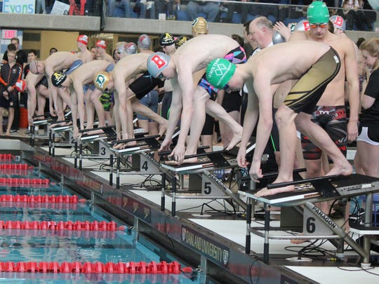 Swimmers steady themselves for the start of a preliminary heat of the 200 freestyle relay at Friday's Division 2 state swimming and diving championships at Oakland University.