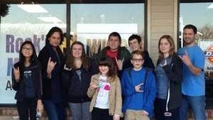 Constantine Maroulis with students at Rock'n Music Academy, where he taught a master class in December