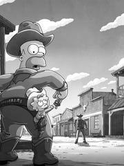 "In this exclusive art from ""The Simpsons,"" Homer and"