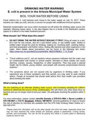 A notice sent out to residents of Artesia and Morningside in July, alerting them of possible E. Coli contamination in tap water.