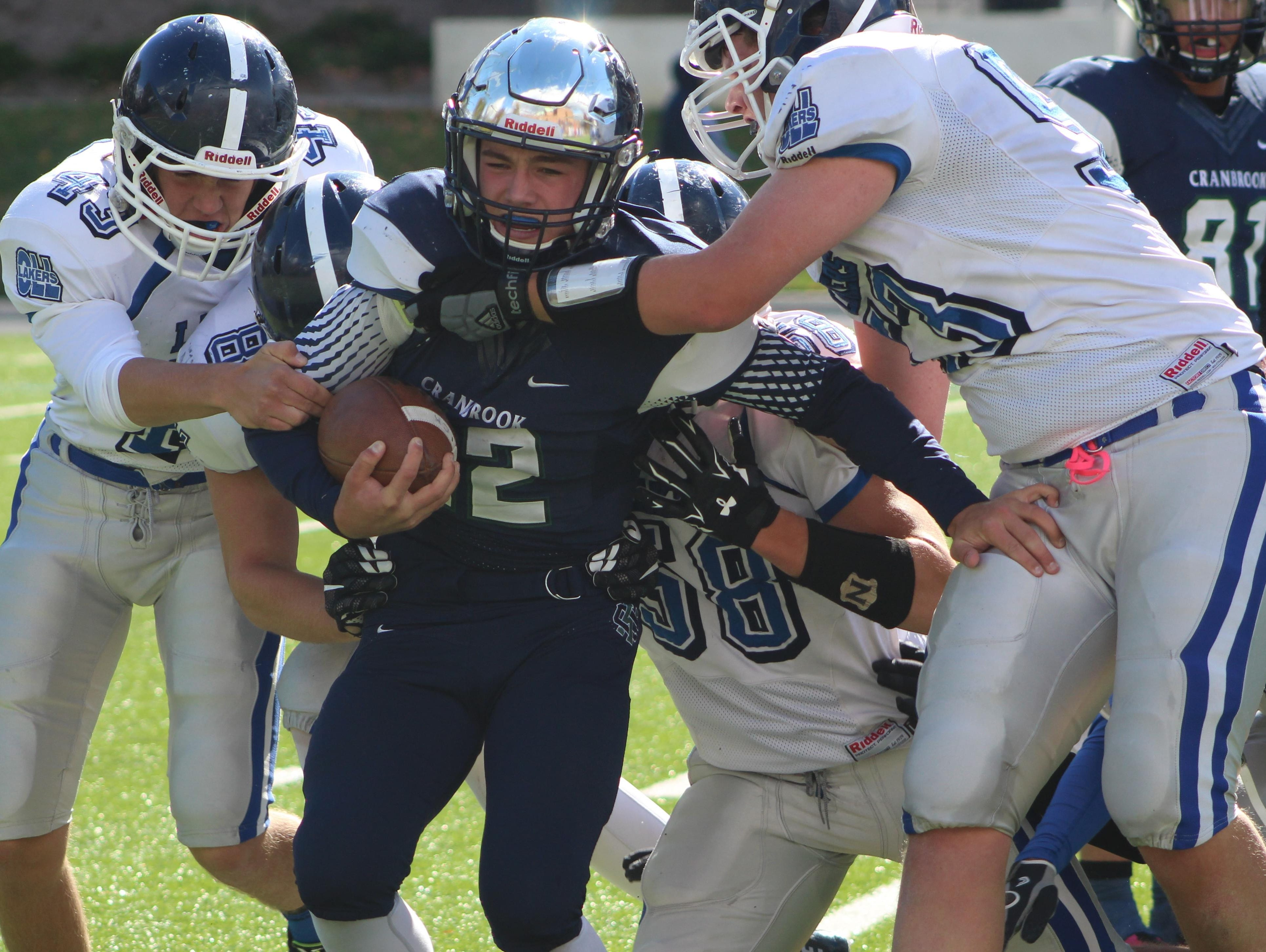 Cranbrook Kingswood's Tristan Knoer (22), shown in a game earlier this season against Lakes, scored a touchdown in Friday's playoff victory over Macomb County foe South Lake.