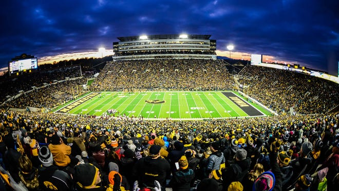 CSU's football team will play a game in 2021 at Iowa's Kinnick Stadium, shown here during an Oct. 28 game against Minnesota. The game against the Big Ten Conference school assures CSU of playing at least two of its four nonconference games a season through 2021 against schools from Power 5 conferences.