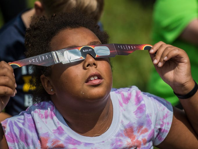Students from Northeastern Elementary School view a