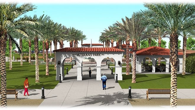A rendering of the proposed Veterans Park redesign. The plans include an arched entry, central monument and plenty of areas for seating in the historic park.