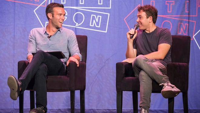 Jon Favreau and Jon Lovett of Pod Save America attend Politicon at The Pasadena Convention Center on Saturday, Aug. 29, 2017, in Pasadena, Calif. (Photo by Colin Young-Wolff/Invision/AP)