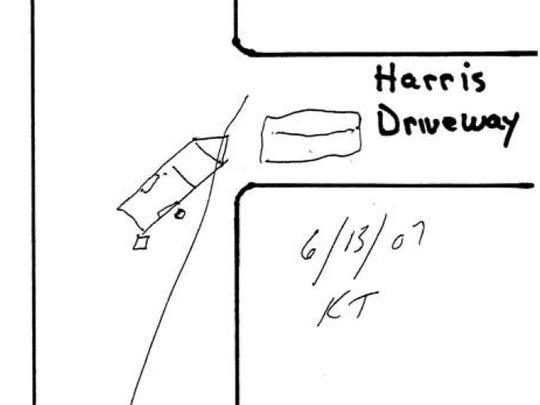 This diagram, drawn June 13, 2007 by Tioga County farmer Kevin Tubbs as part of his witness statement, shows the position of vehicles and people he remembered seeing at the end of the Harris driveway on the morning of Sept. 12, 2001. His statement proved crucial in the reversal of the first verdict.