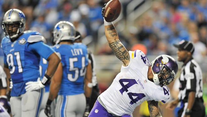 Former Vikings running back Matt Asiata (44) will work out alongside rookies during the Lions' rookie minicamp.