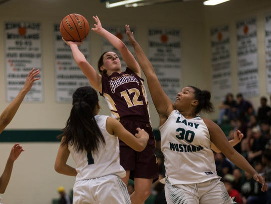 Tuloso-Midway's M. Hermes shoots the ball against King's
