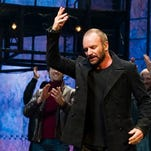 "Sting appears at the curtain call following his debut performance in Broadway's ""The Last Ship"" on Tuesday in New York."