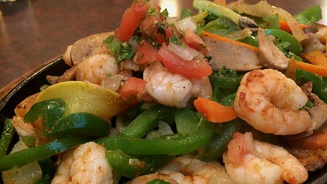 Shrimp fajitas at Cancun Mexican restaurant, 1268 W. 86th St.