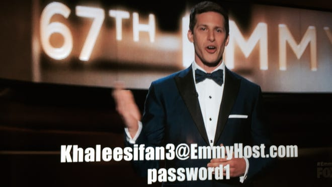 Host Andy Samberg during the 67th Emmy Awards broadcast on Sept. 20, 2015.