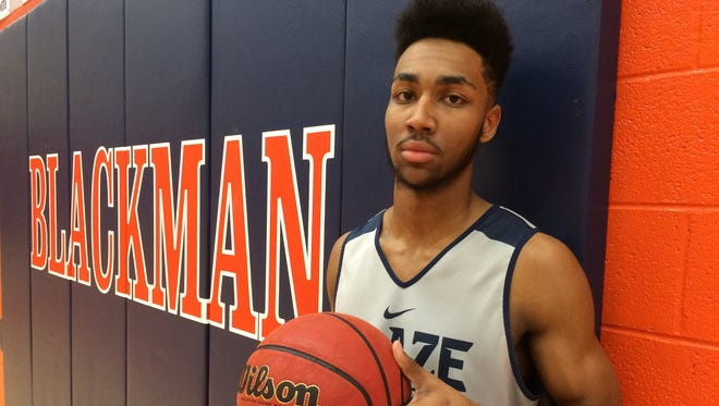 Blackman senior Jarrell Reeves played the past three seasons at Oakland. Reeves and the second-ranked Blaze face the Patriots on Friday at Randy King Gymnasium.