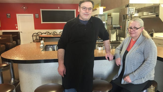 Owners Victor and Jackie Andreski stand in their new restaurant, Corner Cafe, which opened Jan. 2.