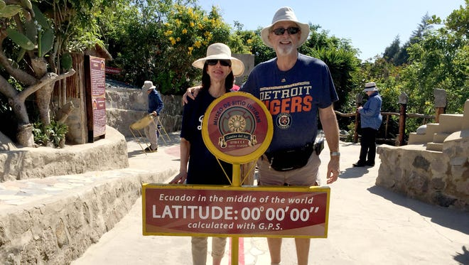 Ken and Carol Holtzman of West Bloomfield and Scottsdale, AZ took the D to the equator, to Quito, the capital of Ecuador in Jan. 2016. Each one is standing in a different hemisphere.