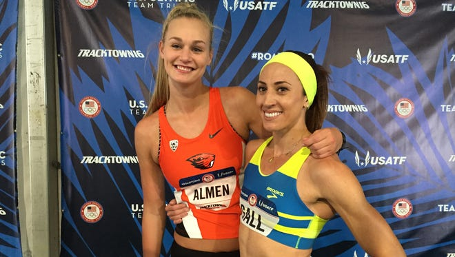 Oregon State's Sara Almen (left) and Geena Gall after their events at the U.S. Olympic Team Trials in Eugene on July 1, 2016.