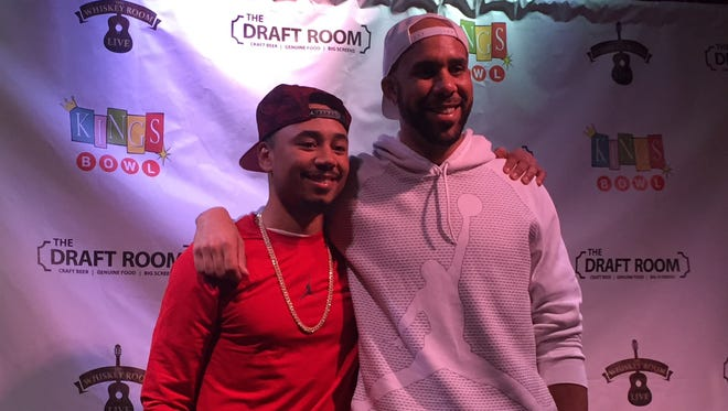 Boston Red Sox teammates and Middle Tennessee natives Mookie Betts (left) and David Price pose for a picture at a fundraiser on Sunday, Nov. 20 in Cool Springs.