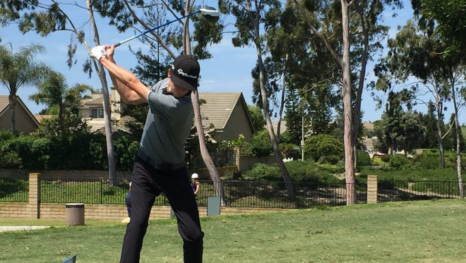 Oaks Christian sophomore Tristan Gretzky tees off at Monday's CIF Northern Individuals at River Ridge. Gretzky finished second with a 3-under 69.