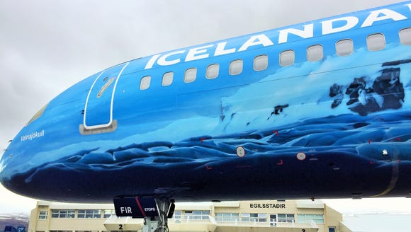 A close-up of the glacier themed plane before it heads