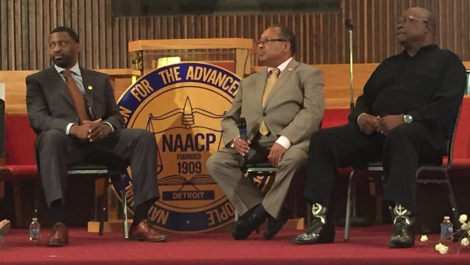 From left, Derrick Johnson, president of the NAACP, Leon Russell, chairman of the NAACP board and Rev. Wendell Anthony, president of the Detroit chapter of the NAACP.