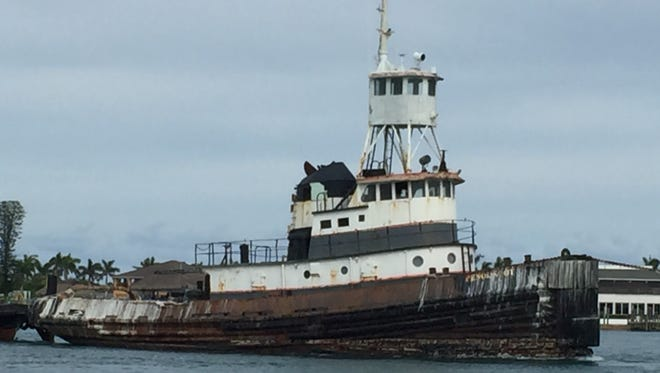 An old tug boat, 100 feet in length, was moved from Port Canaveral to Fort Pierce Thursday to be used this summer as an artificial reef named after diver Kerry Dillon.