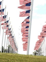 A view of the U.S. flags at the Welcome Home Soldier Memorial in Albia, Iowa.