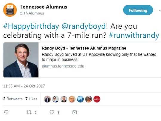 The Tennessee Alumnus Twitter account has since taken down this tweet which could be seen as an endorsement of Republican gubernatorial candidate Randy Boyd.