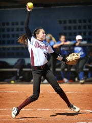 Bowie Lady Jackrabbits pitcher Maylie Short delivers a pitch Monday afternoon against the City View Mustangs.