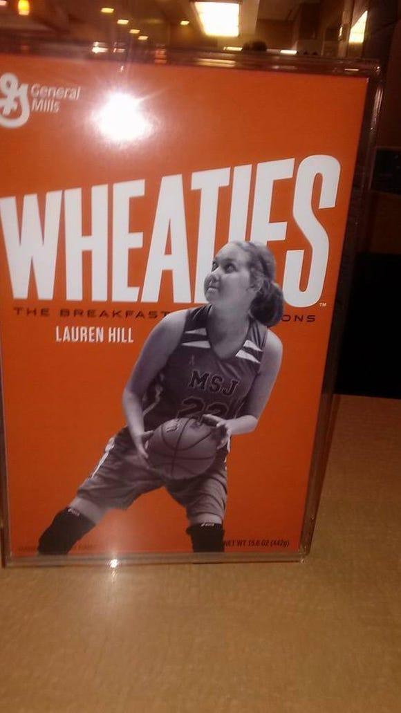 Lauren Hill on a Wheaties box.