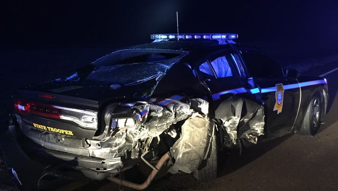 A Mississippi Highway Patrol vehicle was struck by a motorist early Sunday morning. The motorist has been charged with DUI.