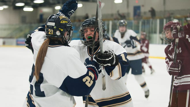 Essex celebrates a goal during the girls hockey quarterfinal game between the Northfield Marauders and the Essex Hornets at the Essex Skating Facility on Saturday afternoon.