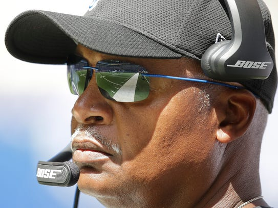 Jim Caldwell watches the Lions vs. Colts exhibition
